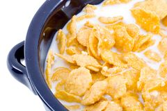 Bowl of Cornflakes with Milk Royalty Free Stock Images