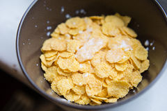 Bowl with Cornflakes and Milk. Healthy Breakfast. Stock Images