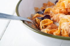 Bowl of Cornflakes and Milk Jug Stock Photography