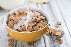 Bowl with Cornflakes and Milk Stock Photography
