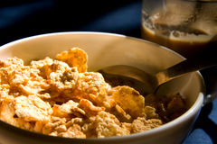 Bowl with cornflakes in the morning Stock Image