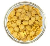 Bowl with cornflakes on white background stock photo