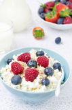 Bowl of cottage cheese with berries, honey Royalty Free Stock Photography
