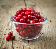 Bowl of cowberries. On old wooden table Royalty Free Stock Photo