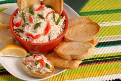 Bowl of crab dip with toasted crostini and lemon royalty free stock images