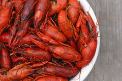 Bowl of Crawfish Top View Royalty Free Stock Image