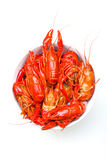 Bowl of crayfish. Bowl of boiled crayfish isolated on white Royalty Free Stock Photo