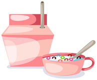 Bowl of creal and milk box vector illustration