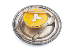 Bowl of cream Carrot Soup Stock Image