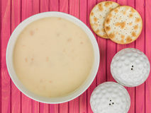 Bowl of Cream of Chicken Soup With Water Biscuit Crackers Stock Images