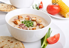 Bowl of Cream Corn Soup with Croutons Royalty Free Stock Photo
