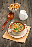 Bowl of cream of mushroom soup with fried mushrooms Stock Images