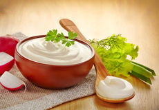 Bowl of cream Stock Photo