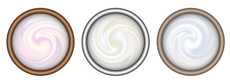 Bowl of cream on white background, top view. Royalty Free Stock Photography