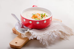 A bowl of creamy cauliflower soup Stock Photography