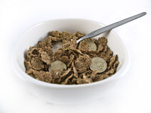 Bowl of Credit Crunch Breakfast Cereal Royalty Free Stock Images