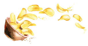 Bowl of crisps. Watercolor Stock Images