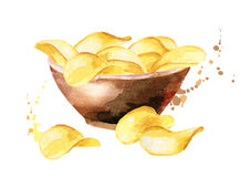 Bowl of crisps. Watercolor. Hand-drawn illustration Stock Images