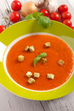 Bowl of crispy croutons and hot pumpkin soup Stock Photo