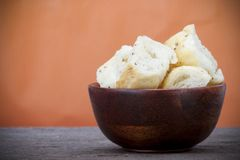 Bowl of croutons Royalty Free Stock Photography