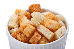Bowl of  croutons. Royalty Free Stock Photos