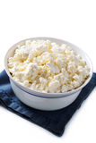 Bowl of crumbly cottage cheese Royalty Free Stock Photos
