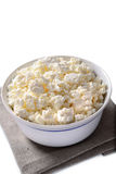 Bowl of crumbly cottage cheese Royalty Free Stock Image