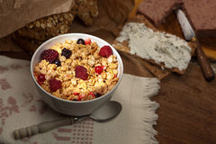 Bowl of crunchy cereals Royalty Free Stock Images
