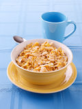 Bowl of crunchy corn flakes for breakfast Stock Photography