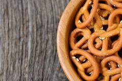 Bowl of crunchy and salty pretzels Stock Photo