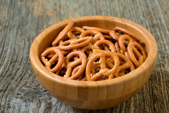 Bowl of crunchy and salty pretzels Royalty Free Stock Photo