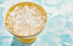 Bowl of crushed clean ice for use as an ingredient Stock Photography