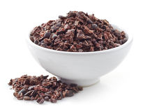 Bowl of crushed cocoa beans Stock Photography