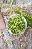Bowl with cutted Chive Stock Photos