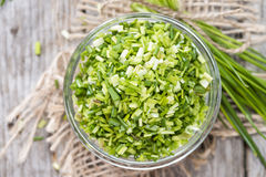 Bowl with cutted Chive royalty free stock photography