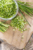 Bowl with cutted Chive Stock Photography
