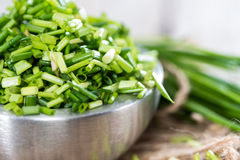 Bowl with cutted Chive Stock Photo