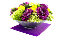 Bowl with dahlia arrangement Stock Photography