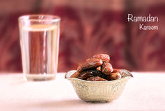 Bowl with dates Stock Photography