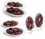 Bowl of dates isolated on white background, Set of Dates fruit shot in different angles stock photography