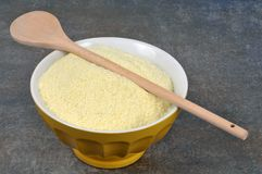 Bowl of dehydrated potato puree stock image