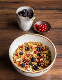 Bowl of delicious breakfast muesli with oat Royalty Free Stock Photos