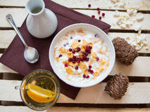Bowl of delicious breakfast muesli Royalty Free Stock Image