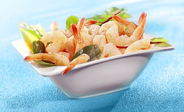 Bowl of delicious grilled prawn or shrimp tails Stock Image