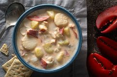 A Bowl of Delicious Seafood Chowder Royalty Free Stock Photo