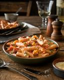 Cajun Lobster Pasta. A bowl of delicious spicy cajun style pasta with lobster royalty free stock image