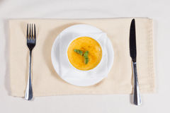 Bowl of delicious spicy pumpkin soup Royalty Free Stock Photos