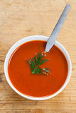 A bowl of delicious tomato soup Stock Photography