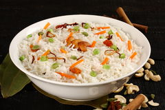 Bowl of  delicious vegetarian fried rice  with basmati rice Royalty Free Stock Images