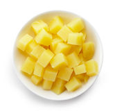 Bowl of diced boiled potatoes, from above Stock Photo